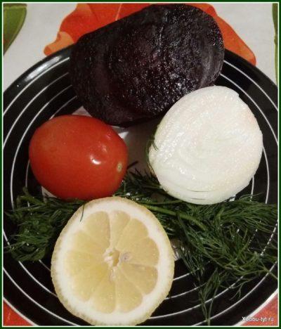 салат со свеклой и помидором